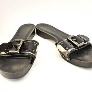 "BURBERRY: Black, Leather & ""Nova Check"" Slides mp"